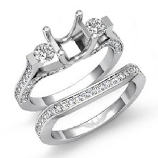 1.5Ct Round Diamond 3 Stone Engagement Ring Bridal Set 14K White Gold Semi Mount