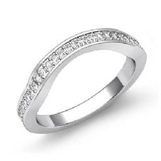 Classic Curve Pave Diamond Women's Half Wedding Band Ring 14k White Gold 0.51Ct