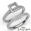 French V Cut Pave Diamond Engagement Ring Princess Bridal Sets 14k White Gold 1.5Ct - javda.com