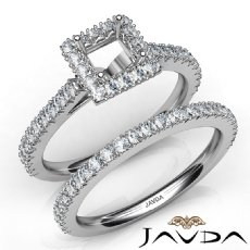 French V Cut Pave Diamond Engagement Ring Princess Bridal Sets 14K W Gold 1.5Ct
