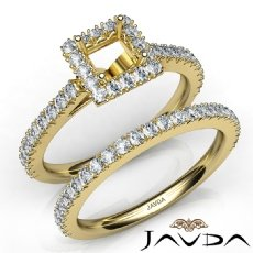 French V Cut Pave Diamond Engagement Ring Princess Bridal Sets 14k Gold Yellow  (1.5Ct. tw.)
