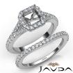 U Prong Diamond Engagement Ring Asscher Semi Mount Bridal Set 18k White Gold 0.8Ct - javda.com
