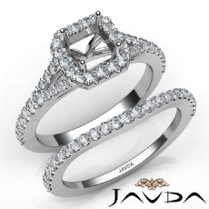 U Prong Diamond Engagement Ring Asscher Semi Mount Bridal Set Platinum 950  (0.8Ct. tw.)