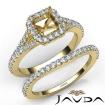 U Prong Diamond Engagement Ring Asscher Semi Mount Bridal Set 14k Yellow Gold 0.8Ct - javda.com