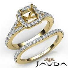 U Prong Diamond Engagement Ring Asscher Semi Mount Bridal Set 14k Gold Yellow  (0.8Ct. tw.)