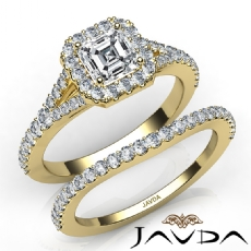 Split Shank Halo Pave Bridal Asscher diamond engagement Ring in 14k Gold Yellow