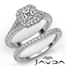 Split Shank Halo Pave Bridal Asscher diamond engagement Ring in 14k Gold White
