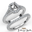 U Prong Diamond Engagement Ring Cushion Semi Mount Bridal Set 14k White Gold 0.8Ct - javda.com