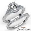 U Prong Diamond Engagement Ring Cushion Semi Mount Bridal Set 14k White Gold 0.8Ct - javda.com