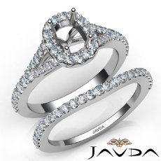 U Prong Diamond Engagement Ring Cushion Semi Mount Bridal Set 14K W Gold 0.80Ct