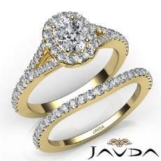 U Cut Halo Pave Bridal Set Cushion diamond engagement Ring in 14k Gold Yellow