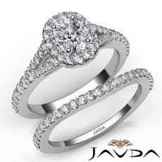 U Cut Halo Pave Bridal Set Cushion diamond engagement Ring in 14k Gold White