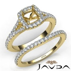 U Prong Diamond Engagement Cushion Semi Mount Ring Bridal Set 14k Gold Yellow  (0.8Ct. tw.)