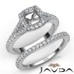 U Prong Diamond Engagement Cushion Semi Mount Ring Bridal Set 14k White Gold 0.8Ct - javda.com