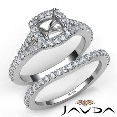 U Prong Diamond Engagement Cushion Semi Mount Ring Bridal Set 14K W Gold 0.80Ct