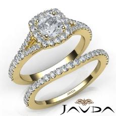 U Cut Pave Halo Bridal Cushion diamond engagement Ring in 14k Gold Yellow