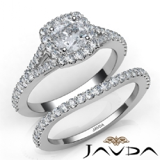 U Cut Pave Halo Bridal Cushion diamond engagement Ring in 14k Gold White