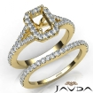 U Prong Diamond Engagement Ring Emerald Semi Mount Bridal Set 14k Yellow Gold 0.8Ct - javda.com