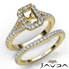 U Prong Diamond Engagement Ring Emerald Semi Mount Bridal Set 14k Gold Yellow  (0.8Ct. tw.)