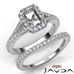 U Prong Diamond Engagement Ring Emerald Semi Mount Bridal Set 14k White Gold 0.8Ct - javda.com