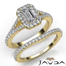 U Pave Halo Bridal Set Emerald diamond engagement Ring in 14k Gold Yellow