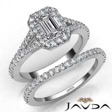 U Pave Halo Bridal Set Emerald diamond engagement Ring in 14k Gold White