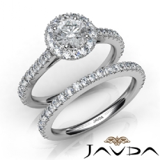 French Pave Shank Bridal Set Round diamond engagement Ring in 14k Gold White