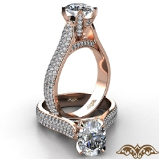 Lotus Basket Cathedral Style Oval diamond  Ring in 18k Rose Gold