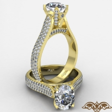Lotus Basket Cathedral Style diamond Ring 14k Gold Yellow