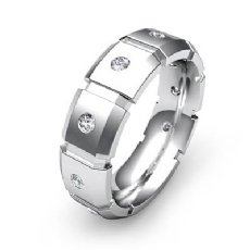 Block Link Round Diamond Men's Eternity Wedding Band in 14k White Gold 0.24 Ct
