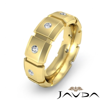 round diamond huge ring 18k yellow gold men block link wedding band. Black Bedroom Furniture Sets. Home Design Ideas