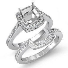 1Ct Cushion Cut Halo Diamond Wedding Rings Pave-Set Semi Mount 14K White Gold