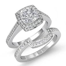 Sidestone Halo Bridal Set Cushion diamond engagement Ring in 14k Gold White