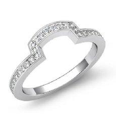 Pave Diamond Women's Half Wedding Band Matching Set Ring 14k White Gold 0.49Ct