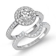 Basket Halo Filigree Bridal Set Round diamond engagement Ring in 14k Gold White