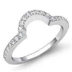 2mm Women's Ring Pave Diamond Matching Half Wedding Band 14k White Gold 0.50Ct