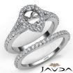 U Prong Diamond Engagement Ring Pear Semi Mount Bridal Set 14k White Gold 0.8Ct - javda.com