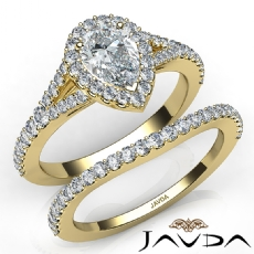 Pave Setting Halo Bridal Pear diamond engagement Ring in 14k Gold Yellow