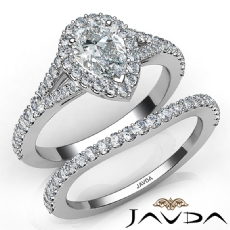 Pave Setting Halo Bridal Pear diamond engagement Ring in 14k Gold White