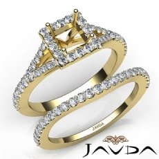 U Prong Diamond Engagement Ring Princess Semi Mount Bridal Set 14k Gold Yellow  (0.8Ct. tw.)