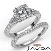 U Prong Diamond Engagement Ring Princess Semi Mount Bridal Set 14k White Gold 0.8Ct - javda.com