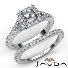 U Prong Diamond Engagement Ring Princess Semi Mount Bridal Set 14K W Gold 0.80Ct