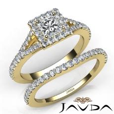 Split-Shank Halo Pave Bridal Princess diamond engagement Ring in 14k Gold Yellow