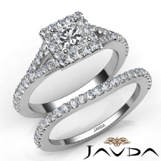 Split-Shank Halo Pave Bridal Princess diamond engagement Ring in 14k Gold White
