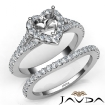 U Prong Diamond Engagement Ring Heart Semi Mount Bridal Set 14k White Gold 0.8Ct - javda.com