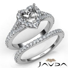 U Prong Diamond Engagement Ring Heart Semi Mount Bridal Set 14K W Gold 0.80Ct