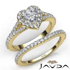 Halo Bridal Set Split-Shank Heart diamond engagement Ring in 14k Gold Yellow