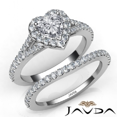 Halo Bridal Set Split-Shank Heart diamond engagement Ring in 14k Gold White