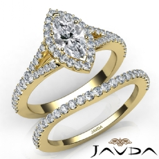 Halo Bridal Set Split Shank Marquise diamond engagement Ring in 14k Gold Yellow