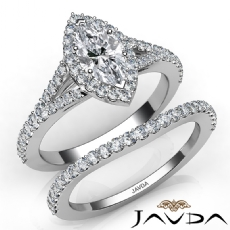 Halo Bridal Set Split Shank Marquise diamond engagement Ring in 14k Gold White